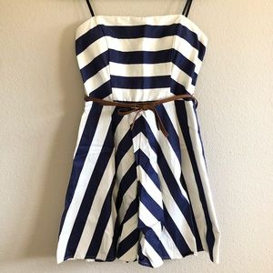 Strapless navy white striped dress brown bow belt